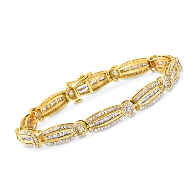3.00 ct. t.w. Baguette and Round Diamond Bracelet in 14kt Yellow Gold
