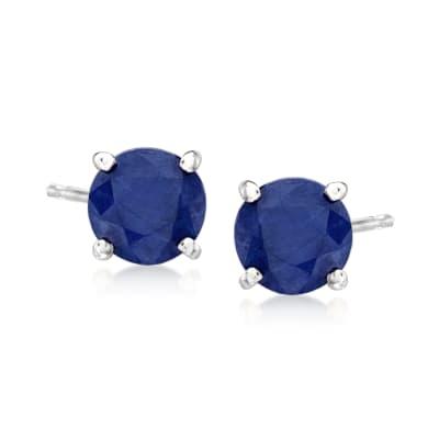 1.15 ct. t.w. Sapphire Stud Earrings in 14kt White Gold