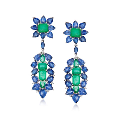 8.60 ct. t.w. Sapphire and 5.10 ct. t.w. Emerald Drop Earrings with .14 ct. t.w. Diamond in 18kt White Gold