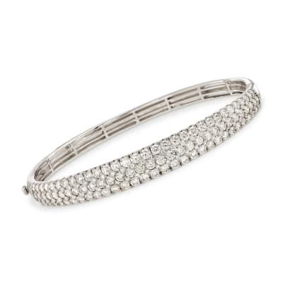 5.42 ct. t.w. Diamond Multi-Row Bangle Bracelet in 18kt White Gold