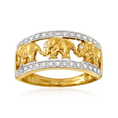 .20 ct. t.w. Diamond Elephant Motif Ring in 14kt Yellow Gold