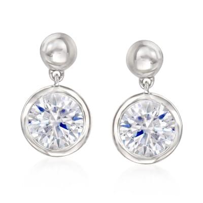 2.00 ct. t.w. Bezel-Set CZ Drop Earrings in Sterling Silver