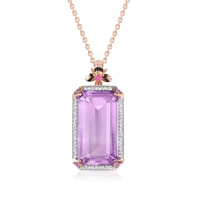 15.00 Carat Amethyst Bee Pendant Necklace with .20 ct. t.w. White Topaz and Pink Sapphire Accents in 18kt Rose Gold Over Sterling