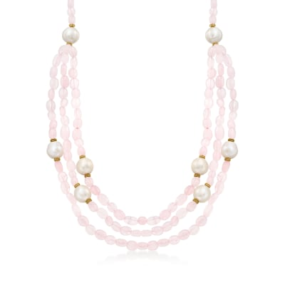 12-13mm Cultured Pearl and 290.00 ct. t.w. Rose Quartz Multi-Strand Necklace with 18kt Gold Over Sterling