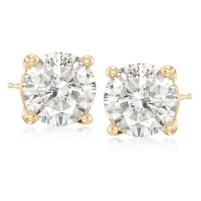 7.00 ct. t.w. CZ Stud Earrings in 14kt Yellow Gold