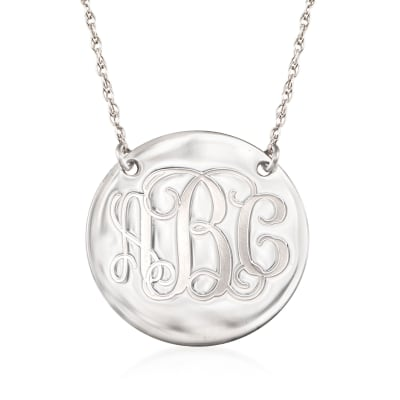 Sterling Silver Script Monogram Disc Necklace