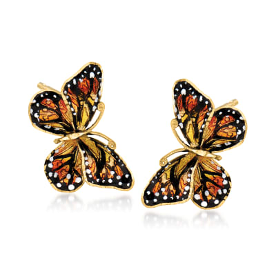 Italian 18kt Yellow Gold Butterfly Earrings with Enamel
