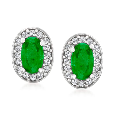 .30 ct. t.w. Emerald and .12 ct. t.w. Diamond Earrings in Sterling Silver