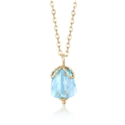 Italian 5.00 Carat Sky Blue Topaz Pendant Necklace in 14kt Yellow Gold