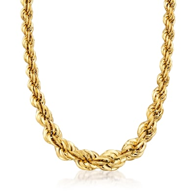 Italian 18kt Yellow Gold Graduated Twisted Link Necklace