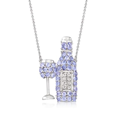 4.45 ct. t.w. Tanzanite and .40 ct. t.w. White Topaz Wine Glass and Bottle Necklace in Sterling Silver
