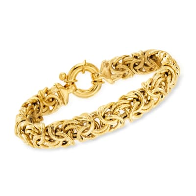 Italian 18kt Gold Over Sterling Textured and Polished Byzantine Bracelet