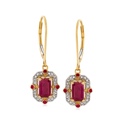 1.89 ct. t.w. Ruby and .14 ct. t.w. Diamond Drop Earrings in 14kt Yellow Gold