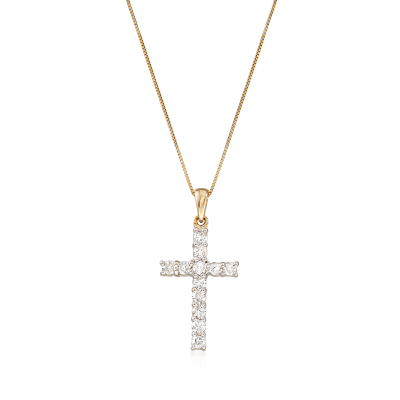 .50 ct. t.w. Diamond Cross Necklace in 14kt Yellow Gold