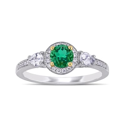 .50 Carat Emerald, .12 ct. t.w. Diamond and .10 ct. t.w. White Sapphire Ring in 14kt Two-Tone Gold