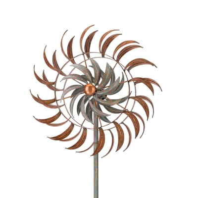 "Regal ""Copper Petals"" Metal Outdoor Rotating Wind Spinner"