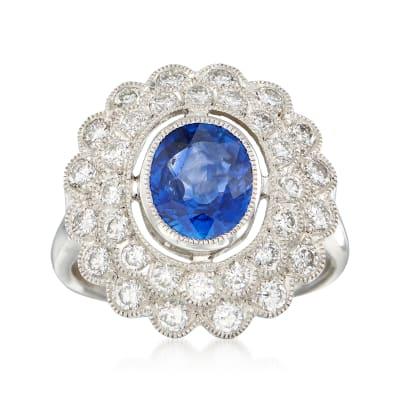 C. 2000 Vintage 1.85 Carat Sapphire and .90 ct. t.w. Diamond Ring in Platinum
