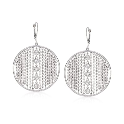 C. 1980 Vintage .60 ct. t.w. Diamond Circle Drop Earrings in 14kt White Gold