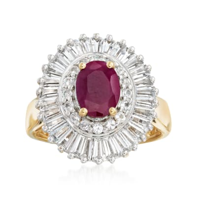 1.50 Carat Ruby and 2.00 ct. t.w. White Topaz Ring in 18kt Gold Over Sterling