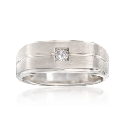 Men's .15 Carat Diamond Wedding Ring in 14kt White Gold