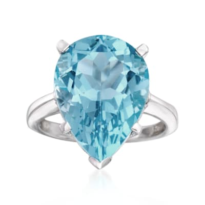 13.00 Carat Sky Blue Topaz Ring in Sterling Silver