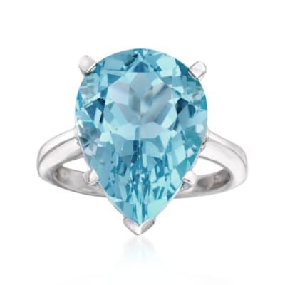 13.00 Carat Sky Blue Topaz Ring in Sterling Silver