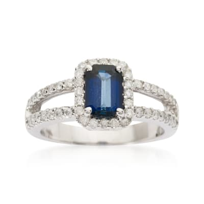 1.15 Carat Sapphire and .55 ct. t.w. Diamond Ring in 14kt White Gold