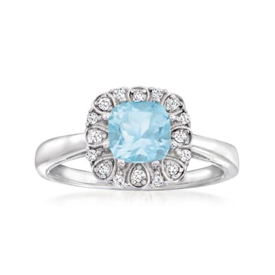 1.40 Carat Sky Blue Topaz and .13 ct. t.w. White Topaz Ring in Sterling Silver