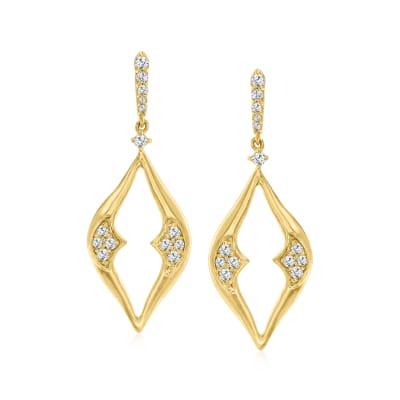 .34 ct. t.w. Diamond Open-Space Drop Earrings in 18kt Gold Over Sterling