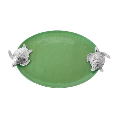 Mariposa Green Enamel Sea Turtle-Handled Serving Tray