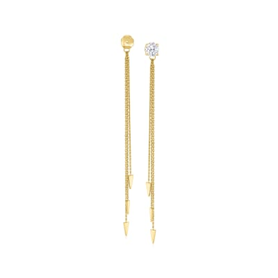 14kt Yellow Gold Cable Chain and Geometric Tassel Earrings Jackets