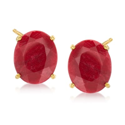 9.60 ct. t.w. Ruby Earrings in 18kt Gold Over Sterling