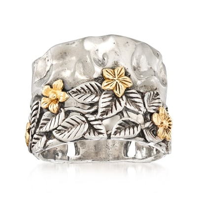 Leaves and Flowers Ring in Sterling Silver and 14kt Yellow Gold