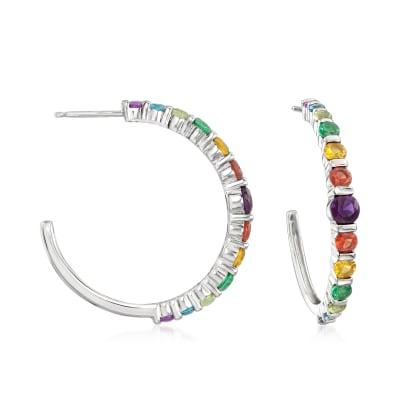 2.05 ct. t.w. Rainbow CZ C-Hoop Earrings in Sterling Silver