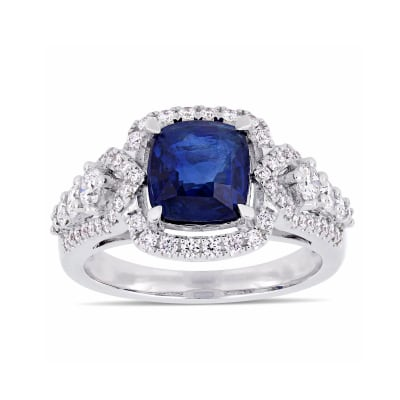 2.50 Carat Sapphire and .67 ct. t.w. Diamond Ring in 14kt White Gold