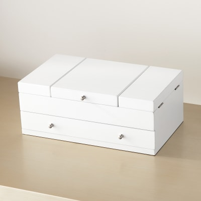 Mele Everly White Wooden Triple Lid Jewelry Box