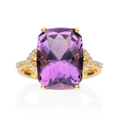 8.50 Carat Amethyst and .13 ct. t.w. Diamond Ring in 14kt Yellow Gold
