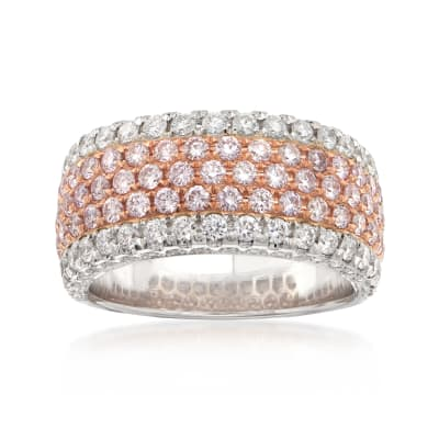 1.70 ct. t.w. Pink and White Diamond Wide Band Ring in 18kt Two-Tone Gold