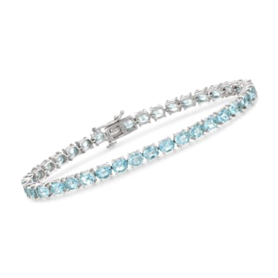 18.00 ct. t.w. Blue Topaz Tennis Bracelet in Sterling Silver