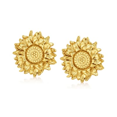 Italian 18kt Gold Over Sterling Sunflower Earrings