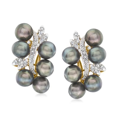 C. 1990 Vintage 6mm Black Cultured Pearl and .30 ct. t.w. Diamond Earrings in 14kt Yellow Gold