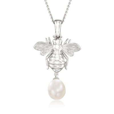 8-8.5mm Cultured Pearl Bumblebee Pendant Necklace in Sterling Silver