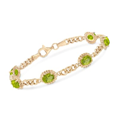 5.00 ct. t.w. Peridot Link Bracelet in 18kt Gold Over Sterling Silver