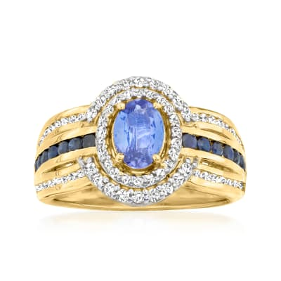 .80 Carat Tanzanite and .60 ct. t.w. White Zircon Ring with .30 ct. t.w. Sapphires in 18kt Gold Over Sterling