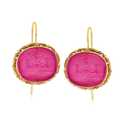 Italian Pink Venetian Glass Intaglio Drop Earrings in 18kt Gold Over Sterling