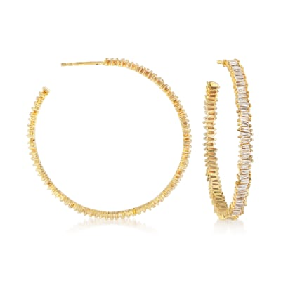 1.10 ct. t.w. Baguette Diamond Hoop Earrings in 14kt Yellow Gold