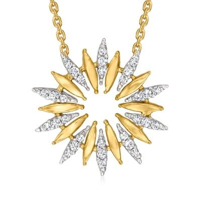 .17 ct. t.w. Diamond Sun Necklace in Sterling Silver and 18kt Gold Over Sterling