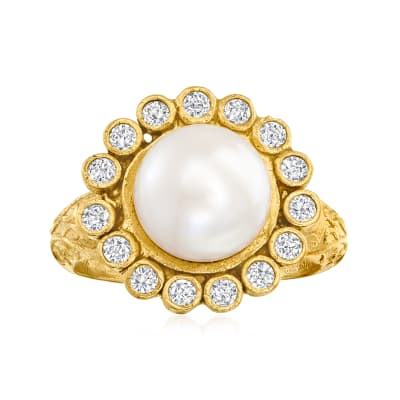 9.5-10mm Cultured Pearl Halo Ring with .45 ct. t.w. CZs in 18kt Gold Over Sterling