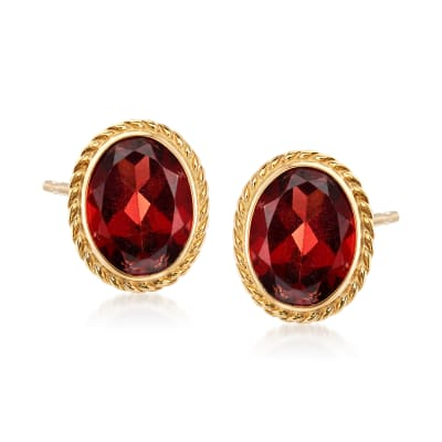 1.40 ct. t.w. Garnet Earrings in 14kt Yellow Gold