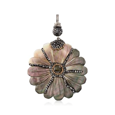 Multi-Gemstone Flower Pendant in Sterling Silver